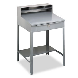 "Tennsco Steel Cabinet Desk, 36"" x 30"" x 53 3/4"", Gray"