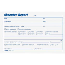 "TOPS Absentee Report Pad, 6""x4"", 2/Pack, White/Blue Ink"