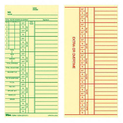 TOPS 3 3/8 x 7 Time Cards for Acroprint, Simplex & Stromberg, Printed 2 Sides