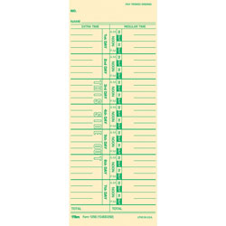 "TOPS Time Cards, Numbered Days, 100/Pack, 3 1/2""x9"""