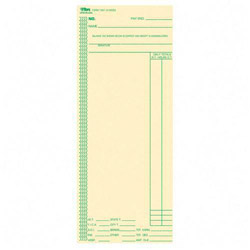 "TOPS Time Cards, Full Day Calculations, 100/Pack, 3 3/8""x8 1/4"""