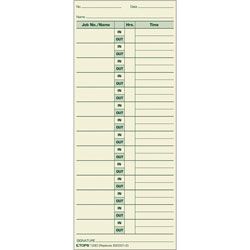 "TOPS Job Cards, 3 1/2""x8 1/2"", 500/BX, Green Ink/Manila Paper"
