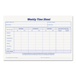 TOPS Weekly Employee Time Sheet, 8 1/2 x 5 1/2, 2 Pads/Pack, 100 Sheets per Pad