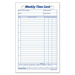 TOPS Weekly Employee Time Card, 4 1/4 x 6 3/4, 100 Cards per Pack