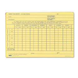 TOPS Weekly Employee Time Report Card, 6 x 4, 100 Cards per Pack