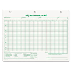 TOPS Daily Attendance Cards, 11 x 8 1/2, 3 Hole Punched, 50 Cards/Pack