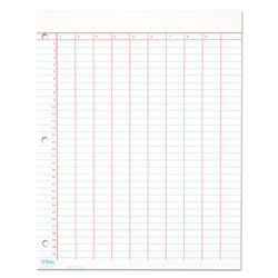 TOPS Data Pad, 11x8 1/2, 10 Numbered Columns x 31 Wide Lines, Left Punched, 50/Pad