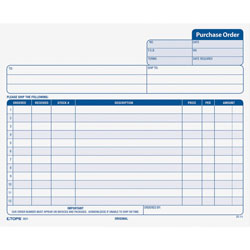 "TOPS Purchase Orders, Carbonless, 3 Parts, 8 1/2""x7"""