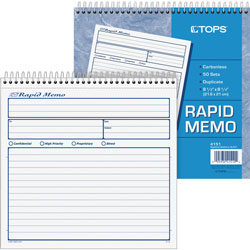 TOPS Spiralbound Rapid Memo Book, Duplicate Carbonless, 8 1/2x8 1/4, 50 Sets/Black