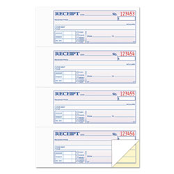 TOPS Carbonless Rent/Money Receipt Book, Duplicate, 4 Receipts/Pg, 200 Sets/Black