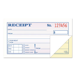 TOPS Carbonless Rent/Money Receipt Book, Duplicate, 2 3/4x5 Receipt Size, 50/Book