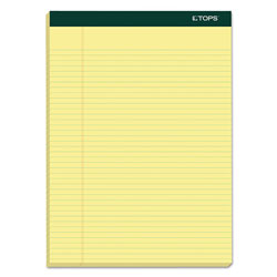 TOPS Letter Size Narrow Rule Double Pad, Canary, 100 Sheets/Pad, 6/Pack