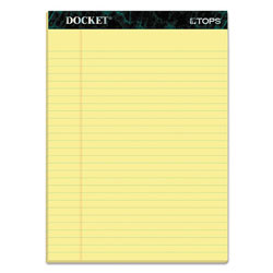 TOPS Legal Ruled Pad, 16#, Letter Size, Canary, 50 Sheets/Pad, 12/Pack