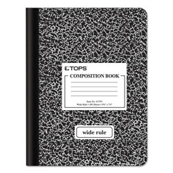 TOPS Composition Book w/Hard Cover, Wide Rule, 9-3/4 x 7-1/2, White, 100 Sheets/Pad