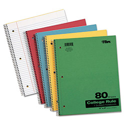 TOPS Kraft Subject Notebook, College Rule, 9 x 11, White, 80 Sheets