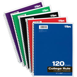TOPS Wirebound 3-Subject Notebook, College Rule, 8-1/2 x 11, White, 120 Sheets/Pad