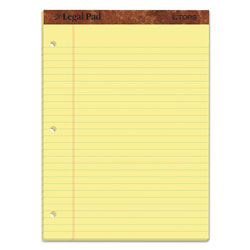 TOPS Perf Top Legal Pad, Letter, Canary, 3 Hole/Side, 50 Sheets/Pad, Dozen