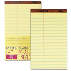 "TOPS Pad, Perforated Top, Law Rule, 50 sheet, 8-1/2""x14"", Canary"