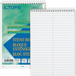 "TOPS Steno Book, Gregg Rule, 80 Sheets, 6""x9"", 12/Pack, White"