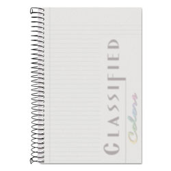 TOPS Classified White Cover Notebook, 8-1/2 x 5-1/2, Narrow Rule, 100 Sheets