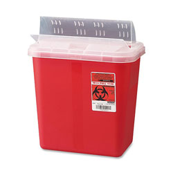Unimed-Midwest S2GH100651 Biohazard Sharps Container with Clear Lid, 2 gallon