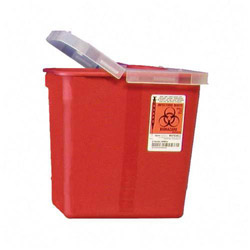 Unimed-Midwest SRHL100990 Red Biohazard Sharps Container with Clear Hinged Lid, 8 Quarts