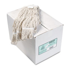 Boardwalk Pro Loop Web/Tailband Wet Mop Head, Cotton, #24 Size, White, 12/Carton