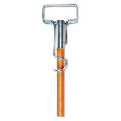 "Boardwalk Spring Grip Metal Head Mop Handle for Most Mop Heads, 60"" Wood Handle"