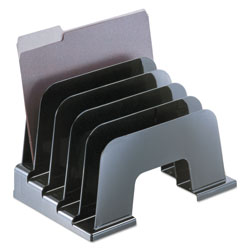 Universal Large Incline Sorter, Five Sections, Plastic, 13-1/4w x 9d x 9h, Black