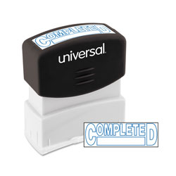 "Universal Pre-Inked ""COMPLETED"" Message Stamp, 9/16 x 1 11/16, Red"