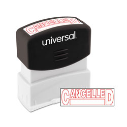 "Universal Pre-Inked ""CANCELLED"" Message Stamp, 9/16 x 1 11/16, Red"