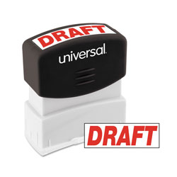 "Universal Pre-Inked ""DRAFT"" Message Stamp, 9/16 x 1 11/16, Red"