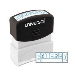 "Universal Pre-Inked ""ENTERED"" Message Stamp, 9/16 x 1 11/16, Blue"