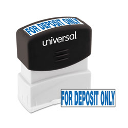 "Universal Pre-Inked ""FOR DEPOSIT ONLY"" Message Stamp, 9/16 x 1 11/16, Blue"