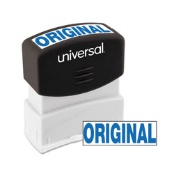 "Universal Pre-Inked ""ORIGINAL"" Message Stamp, 9/16 x 1 11/16, Blue"
