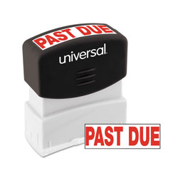 "Universal Pre-Inked ""PAST DUE"" Message Stamp, 9/16 x 1 11/16, Red"