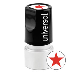 "Universal Pre-Inked ""STAR"" Round Icon Stamp, 3/4"" Diameter, Red"