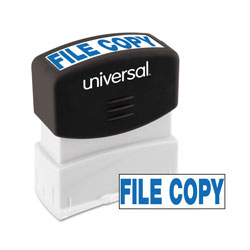 "Universal Pre-Inked ""FILE COPY"" Message Stamp, 9/16 x 1 11/16, Blue"