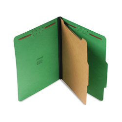 Universal Four Section Pressboard Classification Folder, Letter Size, Emerald Green, 10/Bx