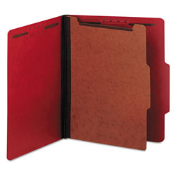 Universal Four Section Pressboard Classification Folder, Letter Size, Ruby Red, 10/Bx