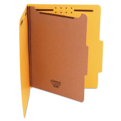 Universal Four Section Pressboard Classification Folder, Letter Size, Yellow, 10/Bx