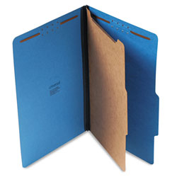 Universal Four Section Pressboard Classification Folder, Legal Size, Cobalt Blue, 10/Bx
