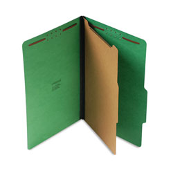 Universal Four Section Pressboard Classification Folder, Legal Size, Emerald Green, 10/Bx