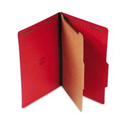 Universal Four Section Pressboard Classification Folder, Legal Size, Ruby Red, 10/Bx