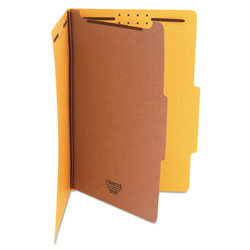 Universal Four Section Pressboard Classification Folder, Legal Size, Yellow, 10/Bx