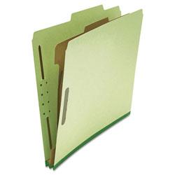 Universal Four Section Pressboard Classification Folder, Letter Size, Green