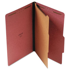 Universal Four Section Pressboard Classification Folder, Legal Size, Red