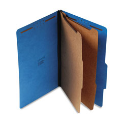 Universal Six Section Pressboard Classification Folder, Legal Size, Cobalt Blue, 10/Bx