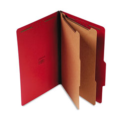 Universal Six Section Pressboard Classification Folder, Legal Size, Ruby Red, 10/Bx