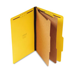 Universal Six Section Pressboard Classification Folder, Legal Size, Yellow, 10/Bx